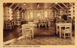 Day Room Interior Hammer Army Air Field Fresno California WWII postcard