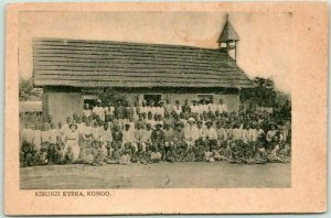 Vintage KINGDOM OF KONGO Postcard KIBUNZI KYRKA Church Building View c1900s