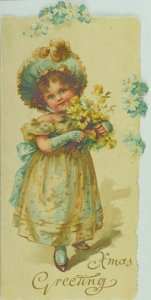 1880's Victorian Embossed Christmas Card Adorable Girl Pretty Dress Flowers P82