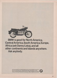 BMW Motorcycle 1966 Print Ad, Good for North America....Ask Danny Liska