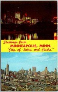 1960s MINNEAPOLIS Minnesota Multi-View Greetings Postcard Day & Night Skyline