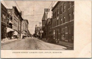 1910s JOPLIN, Missouri Postcard Fourth Street Looking East Downtown Scene