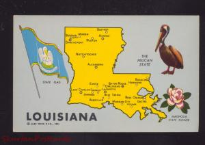 STATE OF LOUISIANA STATE MAP VINTAGE POSTCARD PELICAN FLAG