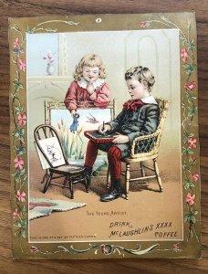 McLAUGHLIN'S XXXX COFFEE - YOUNG ARTIST - Antique Advertising TRADE CARD