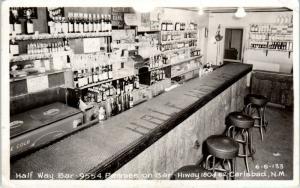 CARLSBAD, NM New Mexico    HALF WAY BAR Pepsi Machine c1950s Roadside  Postcard