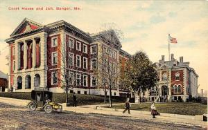 Bangor Maine Court House And Jail Street View Antique Postcard K12062