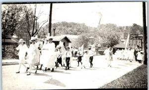 Vintage RPPC Real Photo Postcard Children Fourth of July Parade Scene Illinois?