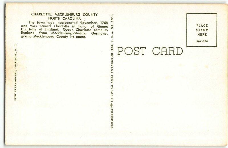 CHARLOTTE, NORTH CAROLINA Large Letter 1965 Chrome Postcard - Teich 5DK-328