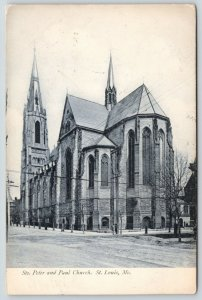 St Louis Missouri~Sts Peter & Paul Church~Tall Steeples~1907 B&W Postcard