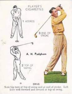 Player Vintage Cigarette Card Golf 1939 No 21 Drive A H Padgham