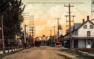 Hamiltion Beach Ontario Canada Lakeside Hotel Lighthouse Swing Bridge PC AA4176