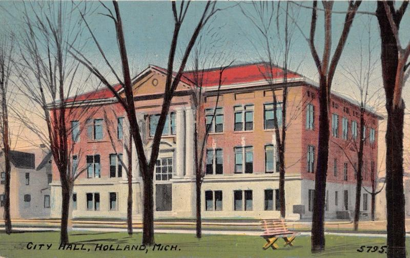 HOLLAND MICHIGAN CITY HALL POSTCARD 1910s