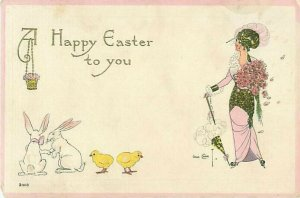 Gene Carr Easter Postcard Woman WIth Chicks and Rabbits