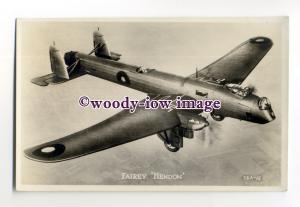 ac0059 - RAF Bomber Aircraft  - Fairey Hendon - postcard
