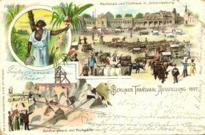 south africa, TRANSVAAL Ausstellung, Gold Mining, Johannesburg Market 1897 Expo