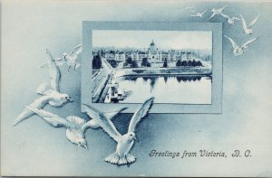 Greetings from Victoria BC Seagulls Parliament Buildings Harbour Postcard G6