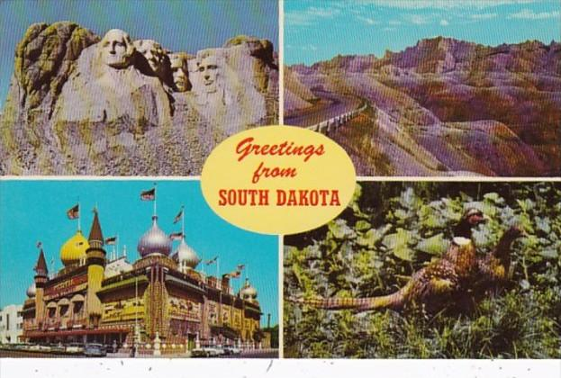 Greetings From South Dakota Corn Palace Mount Rushmore Bad Lands & Pheasant T...
