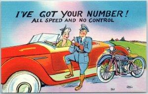 Artist-Signed WALT MUNSON Postcard I'VE GOT YOUR NUMBER All Speed & No Control
