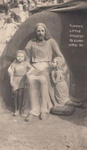 Jesus Suffer Little Children Bible Sand Sculpture Bournemouth Modelling Postcard