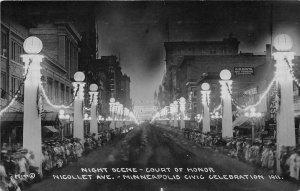 H37/ Minneapolis Minnesota RPPC Postcard 1911 Night Court of Honor Civic