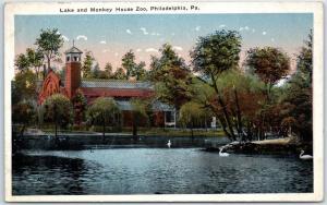 Philadelphia, Pennsylvania Postcard Lake & Monkey House Zoo Scene 1920s Unused