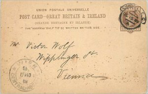 Entier Postal Stationery Postal Great Britain Great Britain 1889 Londo to Vienna