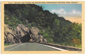 VA Skyline Drive Highway & Tunnel Shenandoah Vtg 1946 Linen