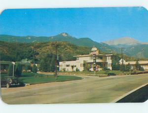 Unused Pre-1980 OLD CARS & RAINBOW MOTEL Colorado Springs Colorado CO M0135