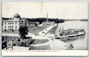 Rockford IL~Edison Light Bulb Sign~Public Library~Water Works Park~Steamer~1914