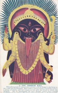 Goddess Kali Bengal Demon Head Decapitation Skeleton Old Hindu Postcard