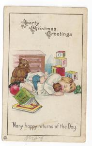 Christmas Girl Teddy Bear Blocks Toys Vintage Postcard