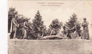 France Lourdes Station du Calvaire Jesus est attache a la Croix