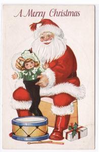 Santa Claus Doll Drum Christmas 1910c postcard