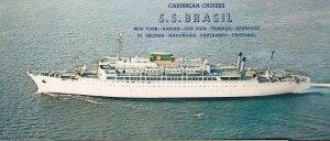 SS Brasil Ship Giant Bookmark Widescreen 1960s Postcard