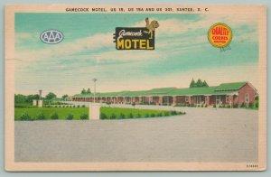 Santee South Carolina~Gamecock Motel~US 15~Dining Room~c1930~Linen Postcard