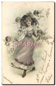 Old Postcard Fantaisie Angels