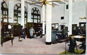 Boone, Iowa Postcard (POST OFFICE) INTERIOR OF FEDERAL BLDG. 1909 Cancel