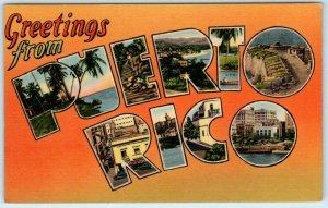 Large Letter Linen PUERTO RICO ca 1940s Isle of Enchantment Tichnor  Postcard