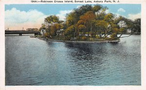 Robinson Crusoe Island, Sunset Lake, Asbury Park, N.J., Early Postcard, Unused
