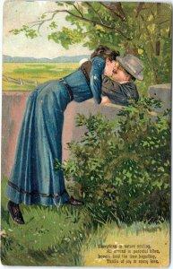 postcard Couple Kissing over fence - poem - Finkenrath embossed posted 1908