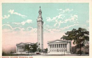 Springfield, Mass, MA, Municipal Buildings, White Border Vintage Postcard f2487