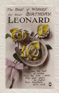 Happy Birthday A Name Called Leonard Real Photo Flower Postcard
