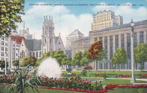 Sunken Gardens Christ Church Cathedral And Public Library Saint Louis Missouri