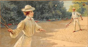 Tennis Post Card Woman and Man Playing Tennis Writing on Back