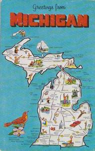 Greetings From Michigan With Map