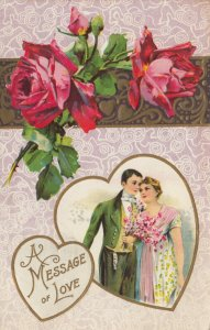 VALENTINE'S DAY, A Message of Love, 1900-10s; Couple framed in Heart, Roses