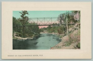 Suwannee River Florida~Through Truss Wagon Bridge~Sandy Banks~Embossed~1910