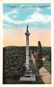 Chattanooga Tennessee Braggs Headquarters Monument Antique Postcard K100802