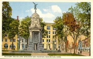 CT - New Britain. Soldiers' & Sailors' Monument and Fountain