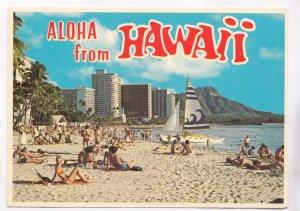 Aloha from HAWAII, Waikiki Beach, unused Postcard